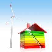 Energie-effizienz-haus und wind-turbine — Stockfoto