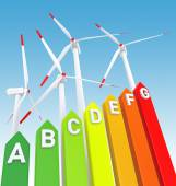 Energy Efficiency Bar Chart and Wind Turbine — Foto de Stock