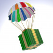 Gift Box flying on parachute — Stock Photo #53459991