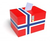 Norwegian Flag Ballot Box — Stock Photo
