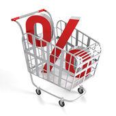 Carrinho de compras com sinal de porcentagem. — Foto Stock