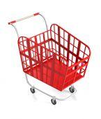 Empty Red Shopping Cart. — Stockfoto