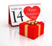 Valentine's Day Calendar and Gift Box — Stock Photo