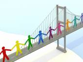 Paper People, Suspension Bridge Walkways — Stock Photo