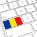 Romania Flag on Computer Key — Stock Photo #64545963