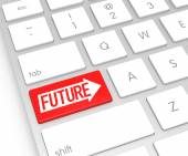 Computer Keyboard with Future Button. 3D Rendering — Stock Photo
