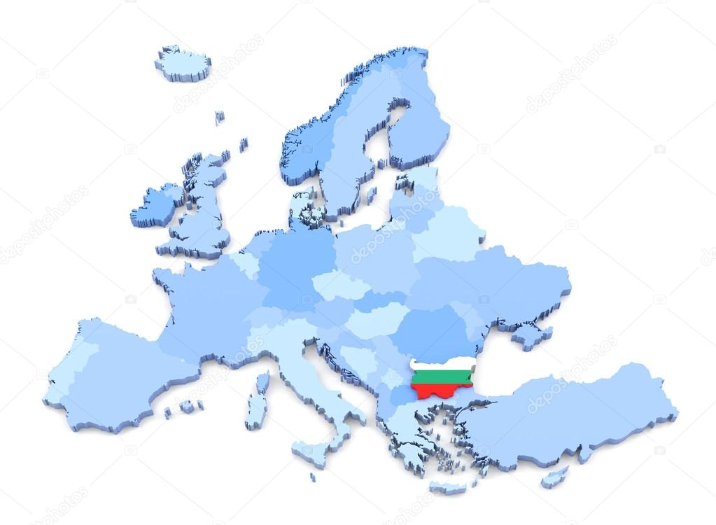 3d 渲染的欧洲地图,保加利亚国旗– 图库图片