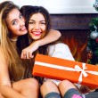 Two sisters celebrating Christmas together — Stock Photo #62168197