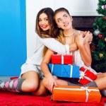 Sisters celebrating Christmas together — Stock Photo #62168725