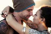 Tender happy stylish couple — Stock Photo
