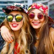 Two hipster girls Outdoor — Stock Photo #62172899