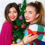 Women posing near decorated Christmas tree — Stock Photo #75374691