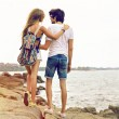 Hipster couple in love travel together — Stock Photo #75374831