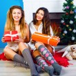 Two sisters celebrating Christmas together — Stock Photo #75374949