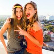 Two smiling happy hipster girls — Stock Photo #75376627