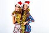 Girls celebrating Christmas party — Stockfoto