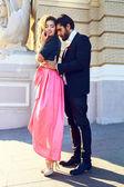 Outdoor portrait of elegant sexy couple — Stock Photo