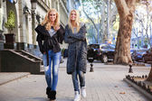 Outdoor portrait of stylish blonde sisters — Stock Photo
