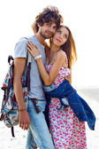 Romantic hipster sweet couple in love — Stock Photo