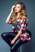 Sexy woman model in stylish clothes — Stock Photo