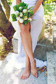 Fashion image of woman legs — Stock Photo