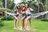 Girls having fun at summer time — Stock Photo