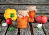 Canned tomato stew salad with sweet pepper Lecho — Stock Photo