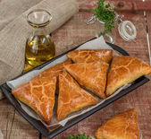 Meat pies samosas with ground beef — Stock Photo