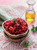 Fresh salad with beetroot, carrots and apples — Stock Photo