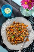 Warm lentil salad with pumpkin and mint — Stock Photo