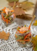 Salad with beef, carrots and pickles — Stock Photo