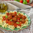 Pasta with mini meatballs with tomato sauce — Stock Photo #58898517