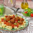 Pasta with mini meatballs with tomato sauce — Stock Photo #58899241