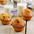 Chocolate chips muffins with milk — Stock Photo #59107559