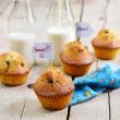 Chocolate chips muffins with milk — Stock Photo #59107875