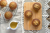 Moist date muffins with homemade toffee caramel — Stock Photo