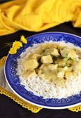 Chicken and apple curry with rice — Stock Photo