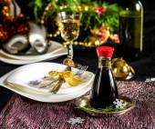 Table setting decoration for Christmas celebration — Stock Photo