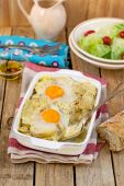 French style potato gratin with cheese and eggs — Stock Photo