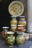 Display of traditional Amalfi hand painted ceramics — Stock Photo