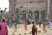 Jama Masjid of Delhi, main square overview with people — Stock Photo