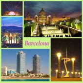 Vista interessante di Barcellona nella notte e giorno, Europa — Foto Stock