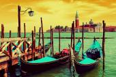 Two gondolas on the San Marco canal  in Venice — Stock Photo