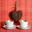 Heart of coffee beans and coffee cup (Valentine. Valentine's Day — Stock Photo #57167003