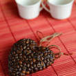 Heart of coffee beans and coffee cup (Valentine. Valentine's Day — Stock Photo #57167071