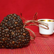 Heart of coffee beans and coffee cup (Valentine. Valentine's Day — Stock Photo #57167219