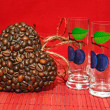 Heart of coffee beans and  cocktail cups (Valentine. Valentine's — Stock Photo #57167419