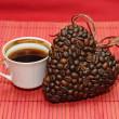 Heart of coffee beans and cup (Valentine. Valentine's Day) — Stock Photo #57167571