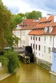 View of the street in the old town with water mill in Prague, Cz — Stock Photo