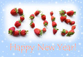 Christmas card New Year with numbers set with strawberries (roma — Stock Photo